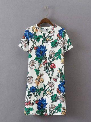 Dress/terusan putih lengan pendek motif bunga daun