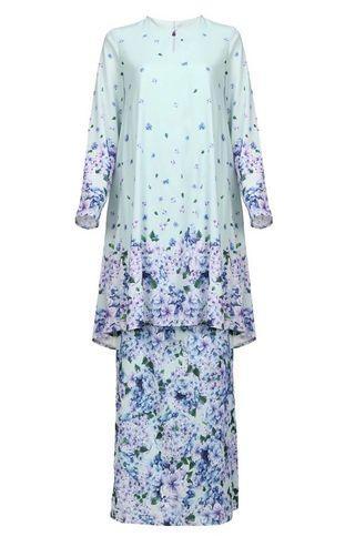 Lynsa Blouse & Skirt Kurung Set - Mint Hydrangea