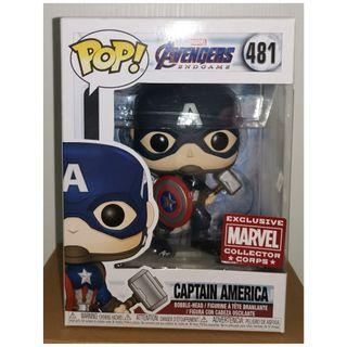 Funko Pop! Avengers Endgame Captain America with Mjolnir - Marvel Collector Corps Exclusive #481