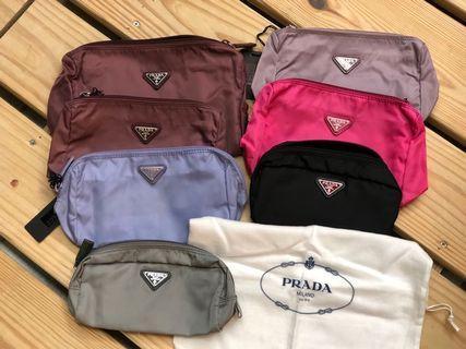 PRADA 降落傘布化妝包零錢包行動電源包
