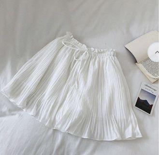 White Pleated Chiffon Mini Skirt