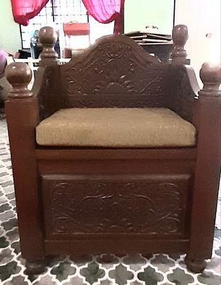1 seater solid wood with carvings