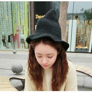 巫師帽子女冬天韓版潮漁夫帽秋冬季尖毛線帽女韓國可愛針織女巫帽