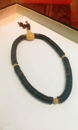 天然金絲玉椰殼念珠手鏈 10×2mm