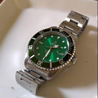 Elgin automatic watch 機械錶 潛水錶 綠水鬼 submariner green