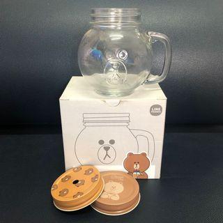 Line Friends Brown Glass Jar