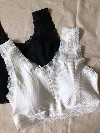 精緻蕾絲抹胸(白,黑)。190。尺寸M/L/XL/XXL。95%棉,5%氨綸。