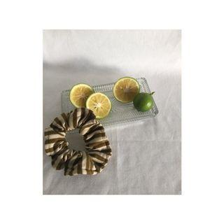 olive striped sustainable scrunchie