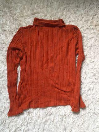 Caramel turtle neck knitted top