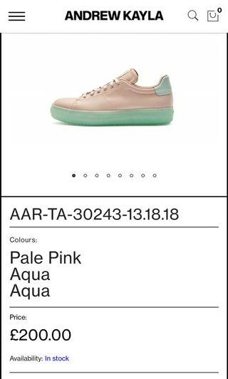 Andrew Kayla aqua Pink leather sneaker