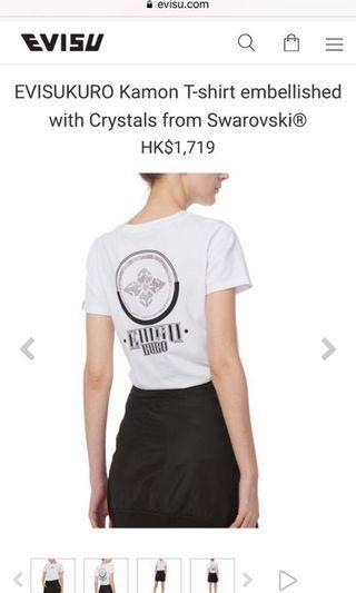 Evisu EVISUKURO Kamon T-shirt embellished with Crystals from Swarovski®