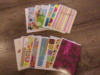 14 x gift cards - blank, thank you cards