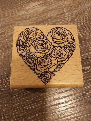 Rose heart wooden stamp