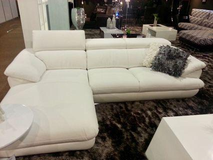 Moscule White L Shape Sofa