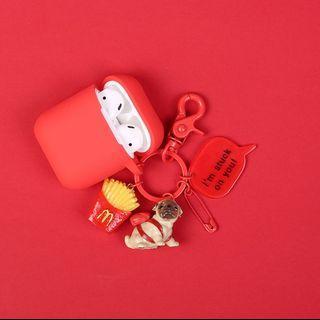 Airpods保護套 小狗掛飾動物鎖匙扣 小豬 藍芽耳機保護套 硅膠保護套 airpods case 鎖匙扣 豬仔掛飾