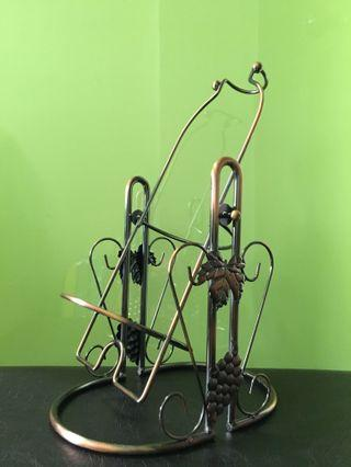 Grapevine-designed Wrought Iron Swinging Wine Rack