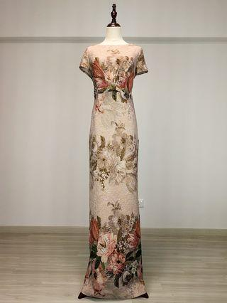 Adrianna Papell Floral Column Gown (Rental)