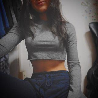 young free hungry grey crop top