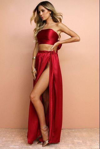 SATIN SILK RED TWO PIECE WRAP DRESS