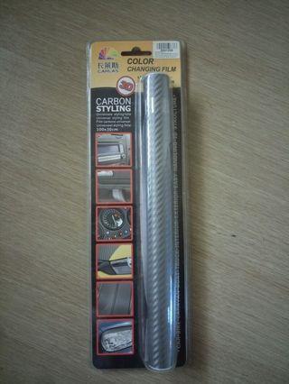 Car Styling Film - Silver Carbon Fibre