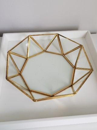 Gold/silver geometric round angled Tray