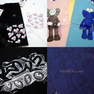 【AMBRAI.com】出清 UNIQLO ✖️ KAWS 聯名 公仔 BFF UT Tee Logo 短袖 短T 素T T恤 白 黑 優衣庫