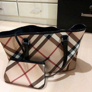 Authentic BURBERRY Nova Check Tote Bag with Pouch