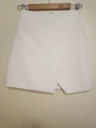 White wrap mini skirt
