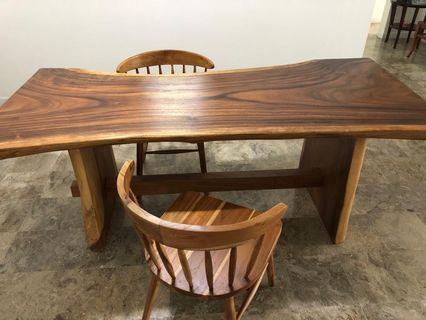 #belanjabulanan dijual meja kursi kayu saman / trembesi