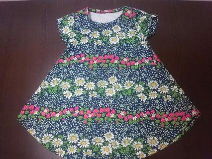 Dress Lengan Pendek Anak Motif Bunga