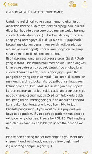 BE PATIENT = DON'T BUY IF YOU CAN'T BE PATIENT & POLITE
