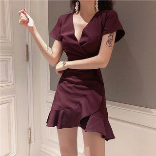 BN ulzzang wine red low cut v neck dress