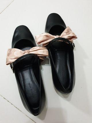 Black Flats with Pink Ribbons