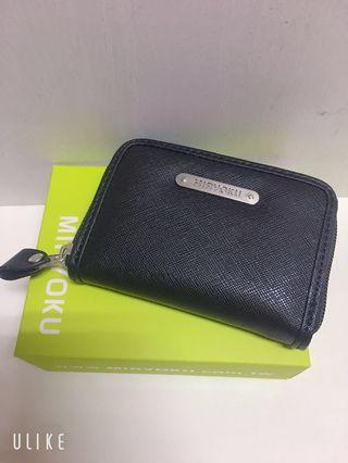 Miryoku 質感斜紋黑色小零錢包