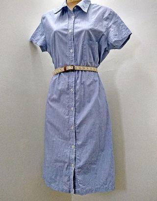VINTAGE BLUE STRIPED DRESS S-M
