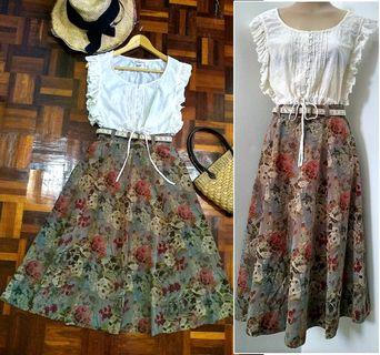 SET OF VINTAGE SKIRT & EMBROIDERED BLOUSE S