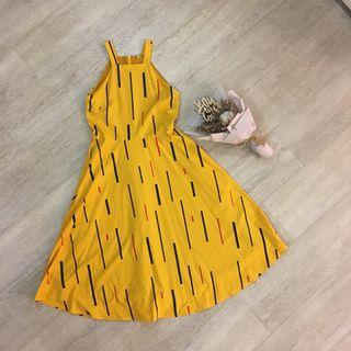 FLASH SALE: AWE Square Neck Abstract Print Dress In Mustard