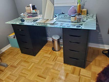 IKEA ALEX DRAWERS + GLASHOLM TABLE TOP
