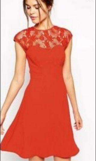 Warehouse coral skater dress
