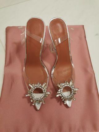 Amina Muaddi PVC crystal slingback heels pumps