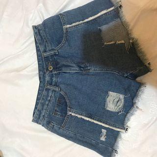 denim jeans shorts hotpants celana pendek ripped