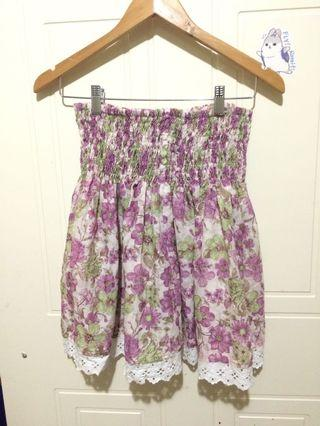Ruched floral skirt purple and green Sz S