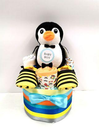 Baby Diaper Cake Penguin Baby Boy Hamper