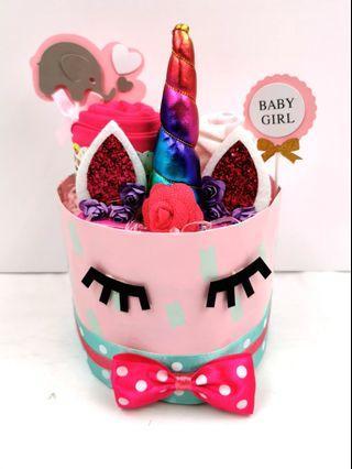 Diaper Cake Unicorn Baby Girl Hamper