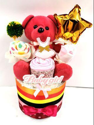 Diaper Cake Red Bear Baby girl Hamper