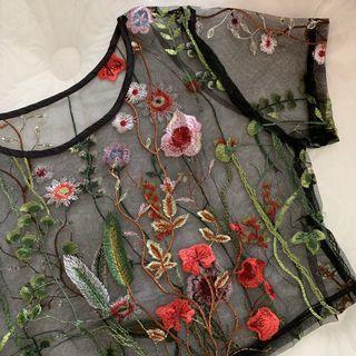Embroidery Mesh Top Atasan Bordir Sulam Wanita