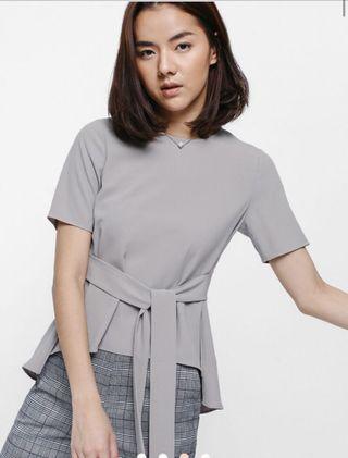 Love Bonito Asymmetrical Sash Top (Grey)