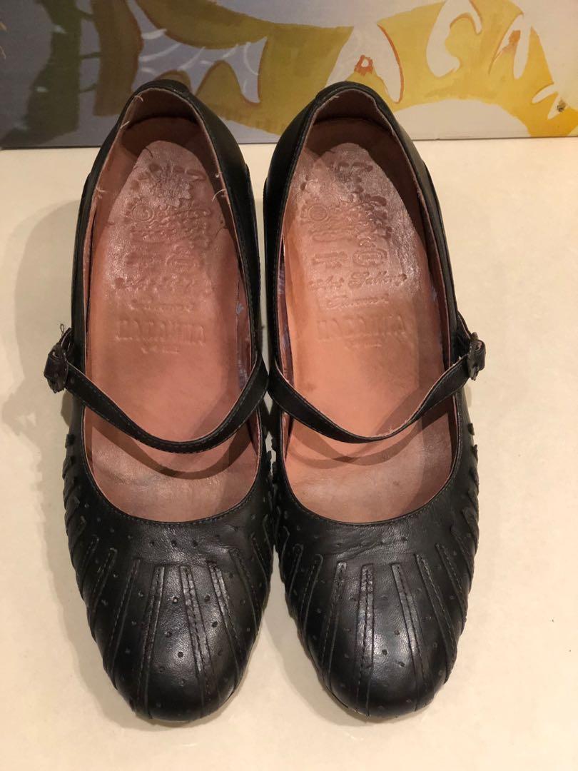 麥肯納全牛皮黑色粗跟瑪莉珍包鞋