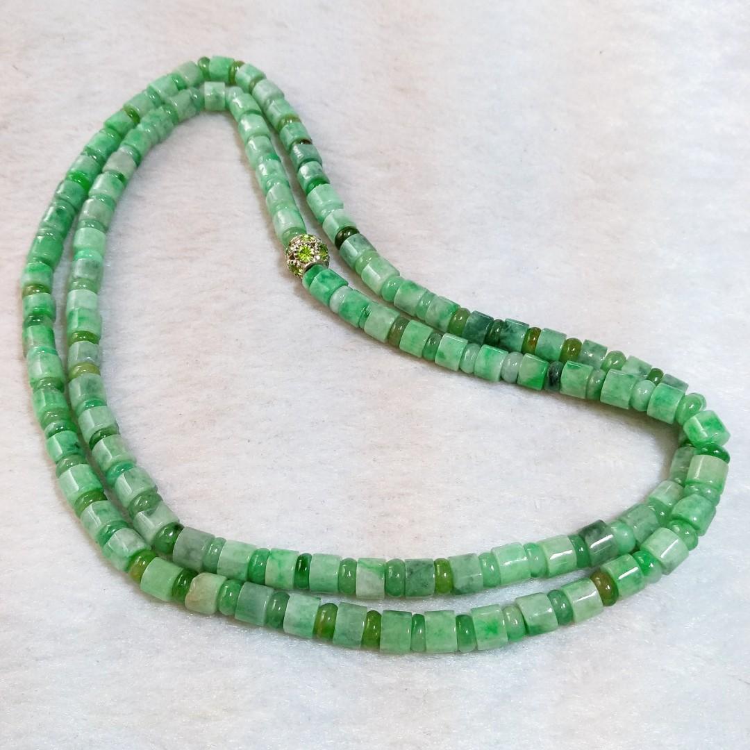 🎆毛衣鍊🎆天然緬甸玉A貨翡翠-飄陽綠 圓管珠+算盤珠 毛衣鍊