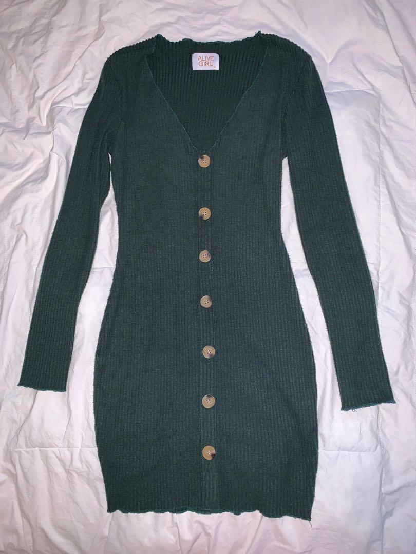 Alive Girl Green Fitted Button Down Dress - AU Size 6